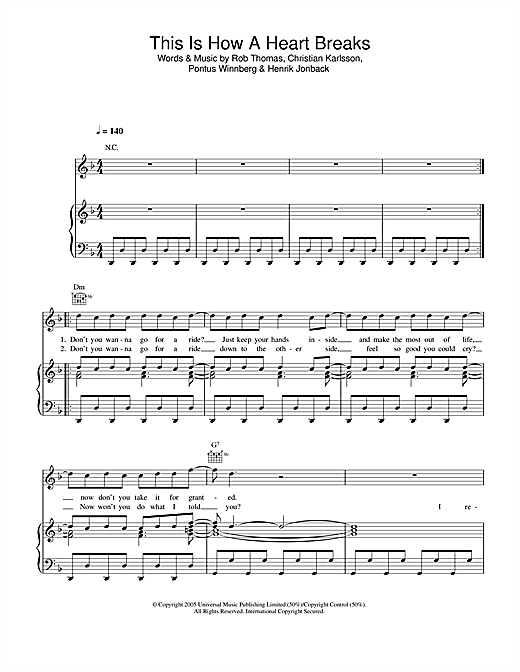 Rob Thomas This Is How A Heart Breaks sheet music notes and chords. Download Printable PDF.