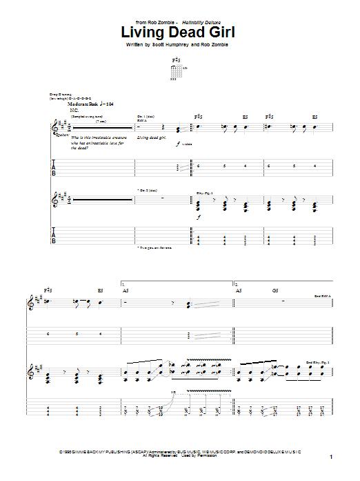 Rob Zombie Living Dead Girl Sheet Music Notes Chords Download Printable Guitar Tab Sku 20652