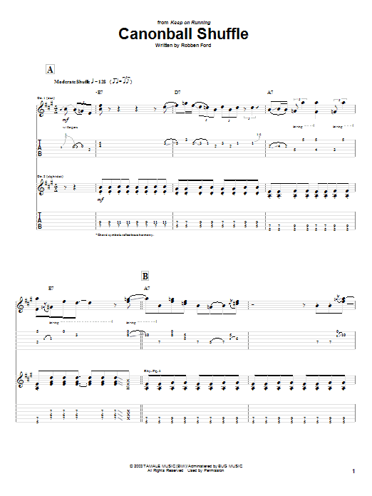 Robben Ford Cannonball Shuffle sheet music notes and chords. Download Printable PDF.