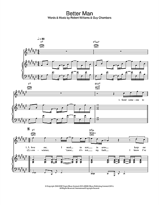 Robbie Williams Better Man sheet music notes and chords. Download Printable PDF.
