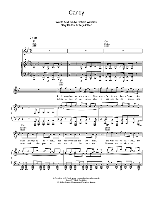 Robbie Williams Candy sheet music notes and chords. Download Printable PDF.