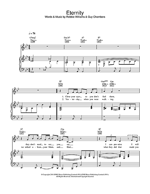 Robbie Williams Eternity sheet music notes and chords. Download Printable PDF.