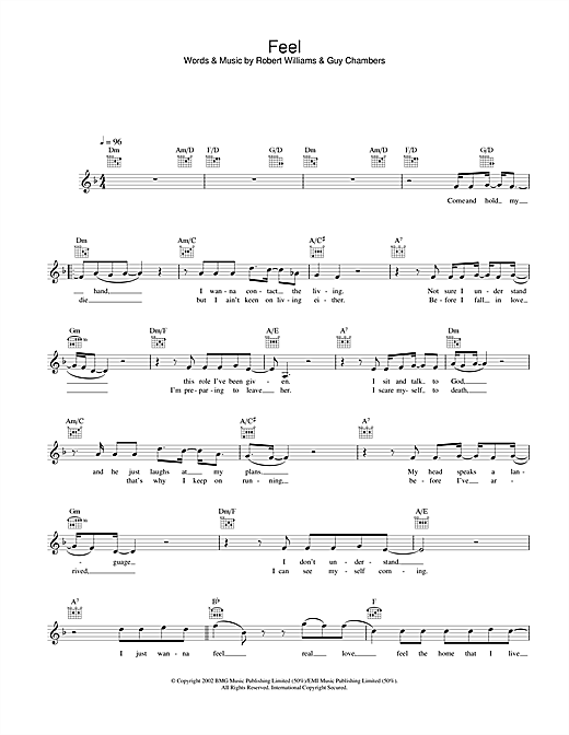 Robbie Williams Feel sheet music notes and chords. Download Printable PDF.