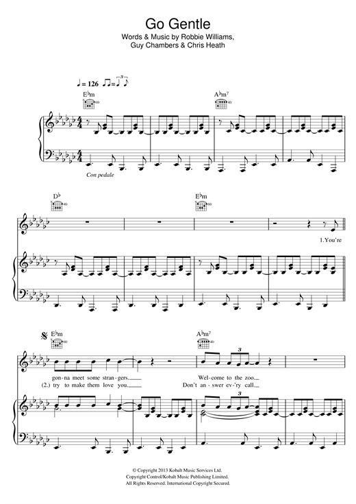 Robbie Williams Go Gentle sheet music notes and chords. Download Printable PDF.