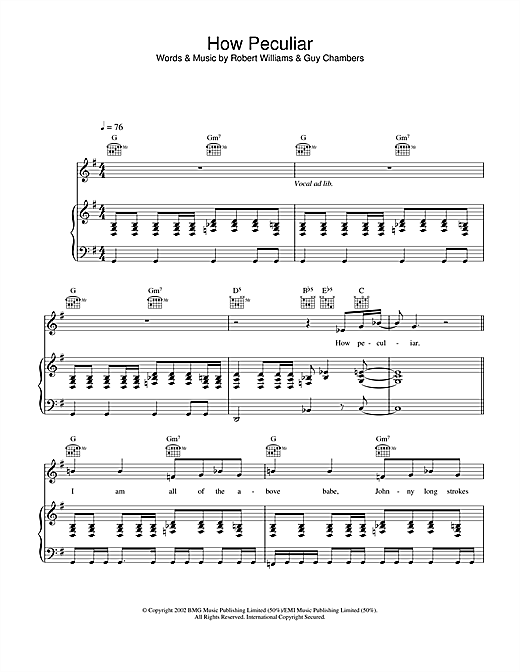 Robbie Williams How Peculiar sheet music notes and chords. Download Printable PDF.