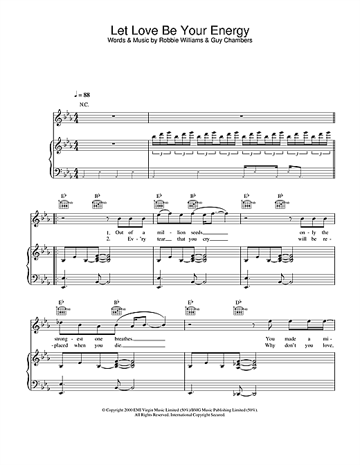 Robbie Williams Let Love Be Your Energy sheet music notes and chords. Download Printable PDF.