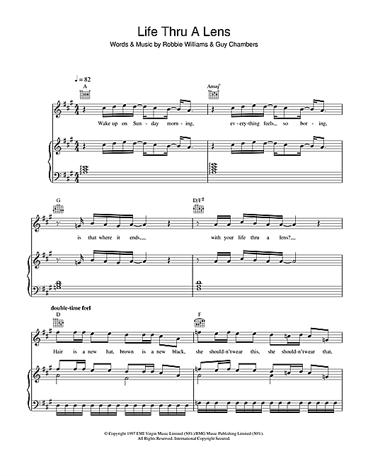 Robbie Williams Life Thru A Lens sheet music notes and chords. Download Printable PDF.