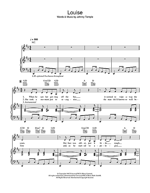 Robbie Williams Louise sheet music notes and chords. Download Printable PDF.