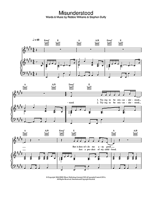 Robbie Williams Misunderstood sheet music notes and chords. Download Printable PDF.