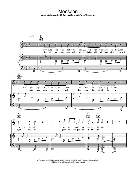 Robbie Williams Monsoon sheet music notes and chords. Download Printable PDF.