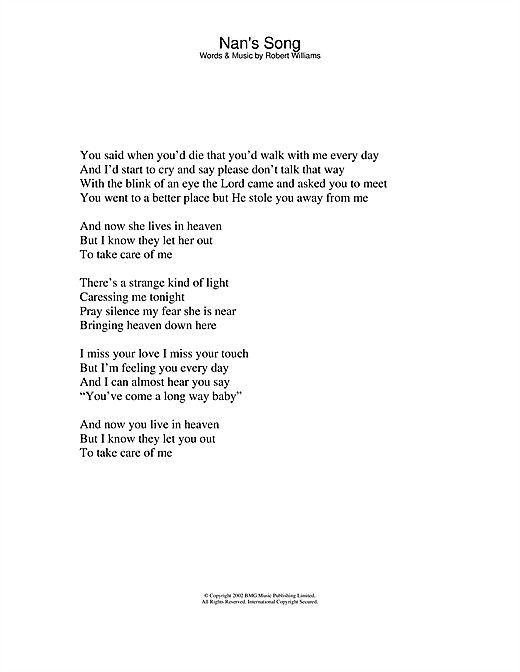 Robbie Williams Nan's Song sheet music notes and chords. Download Printable PDF.