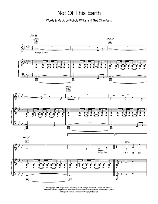 Robbie Williams Not Of This Earth sheet music notes and chords
