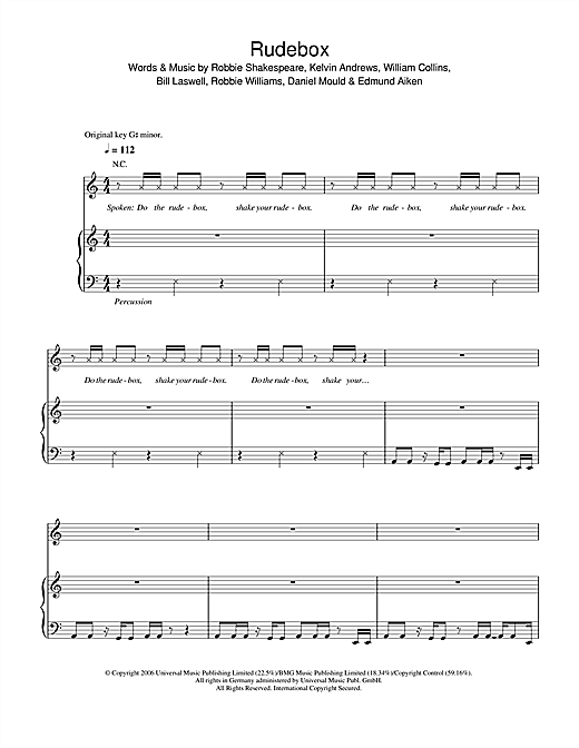 Robbie Williams Rudebox sheet music notes and chords. Download Printable PDF.