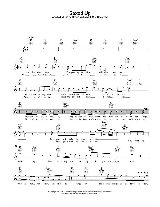 Robbie Williams Sexed Up sheet music notes and chords. Download Printable PDF.