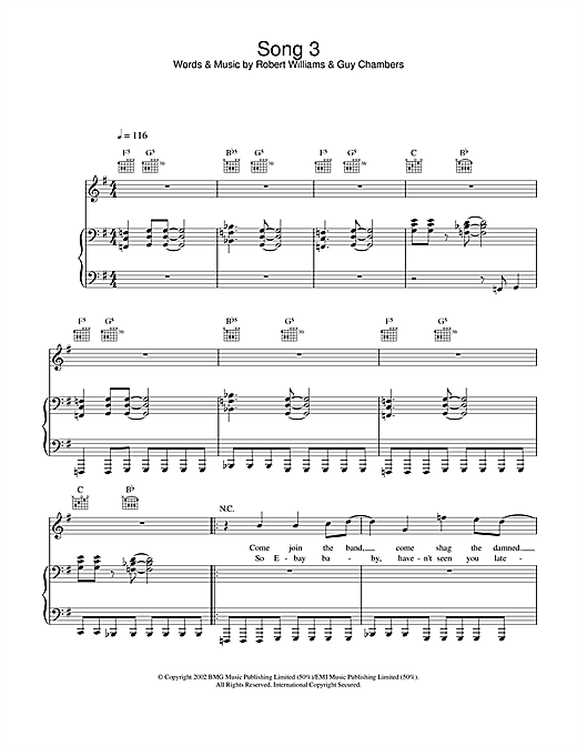 Robbie Williams Song 3 sheet music notes and chords. Download Printable PDF.