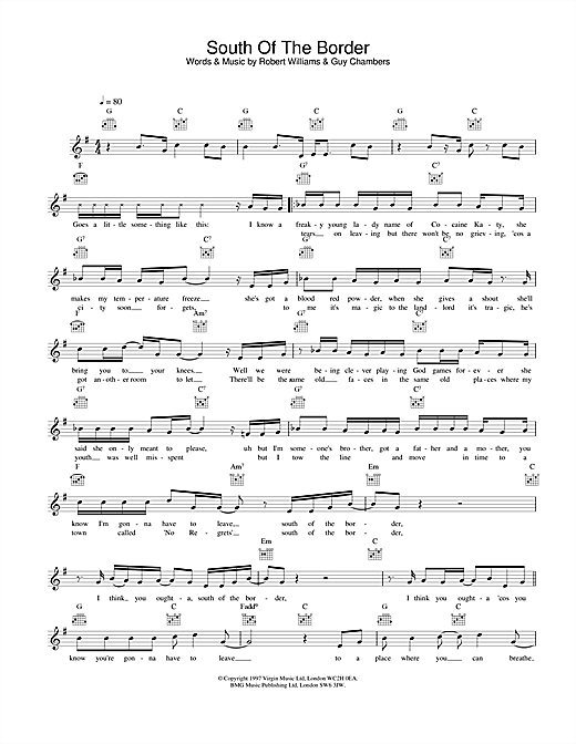 Robbie Williams South Of The Border sheet music notes and chords. Download Printable PDF.