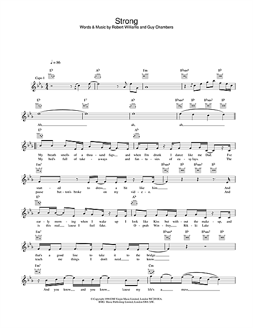 Robbie Williams Strong sheet music notes and chords. Download Printable PDF.