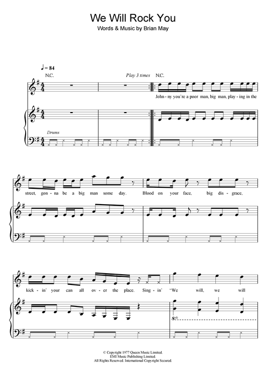 Robbie Williams We Will Rock You sheet music notes and chords. Download Printable PDF.