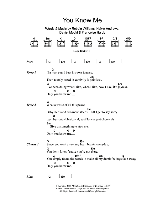 Robbie Williams You Know Me sheet music notes and chords. Download Printable PDF.