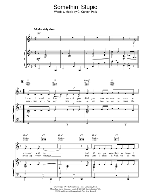 Robbie Williams and Nicole Kidman Somethin' Stupid sheet music notes and chords