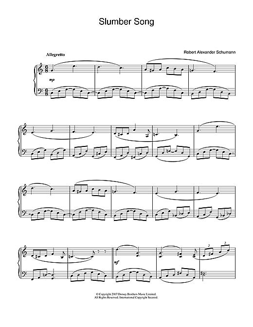 Robert Alexander Schumann Slumber Song sheet music notes and chords. Download Printable PDF.