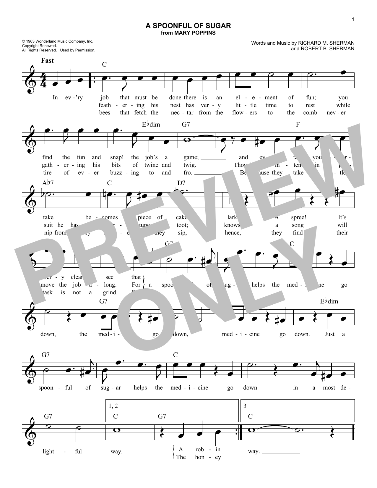 Robert B. Sherman A Spoonful Of Sugar (from Mary Poppins) sheet music notes and chords. Download Printable PDF.