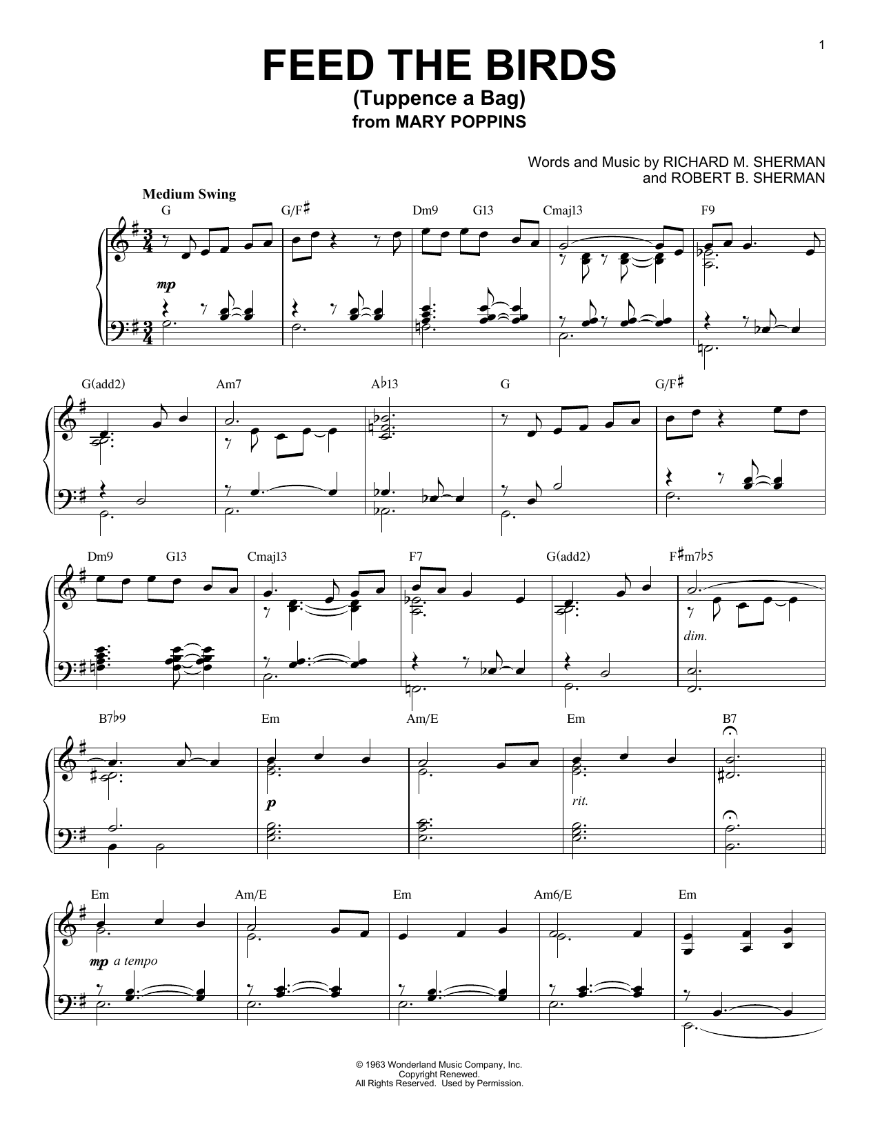 Robert B. Sherman Feed The Birds (Tuppence A Bag) [Jazz version] (from Mary Poppins) sheet music notes and chords. Download Printable PDF.