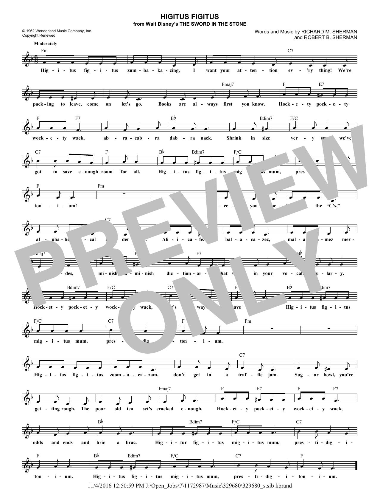 Robert B. Sherman Higitus Figitus sheet music notes and chords. Download Printable PDF.