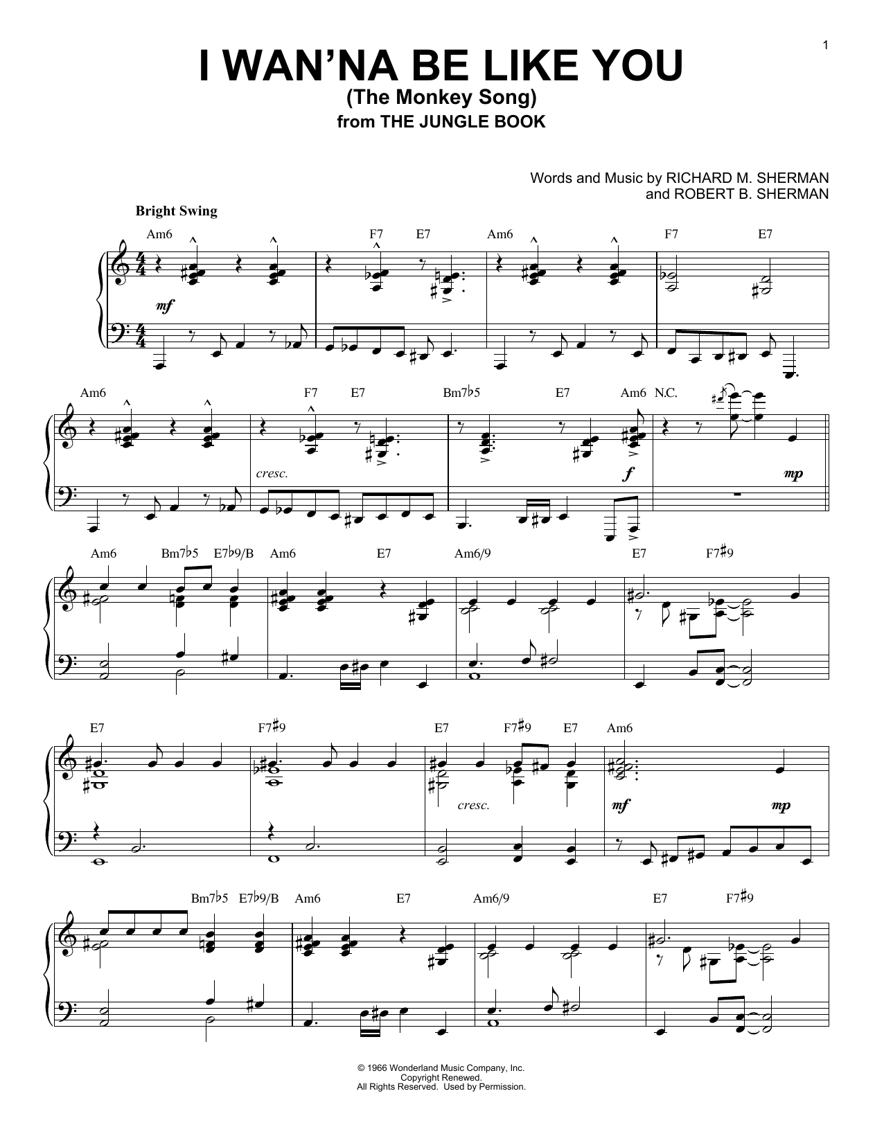 Robert B. Sherman I Wan'na Be Like You (The Monkey Song) [Jazz version] (from The Jungle Book) sheet music notes and chords. Download Printable PDF.