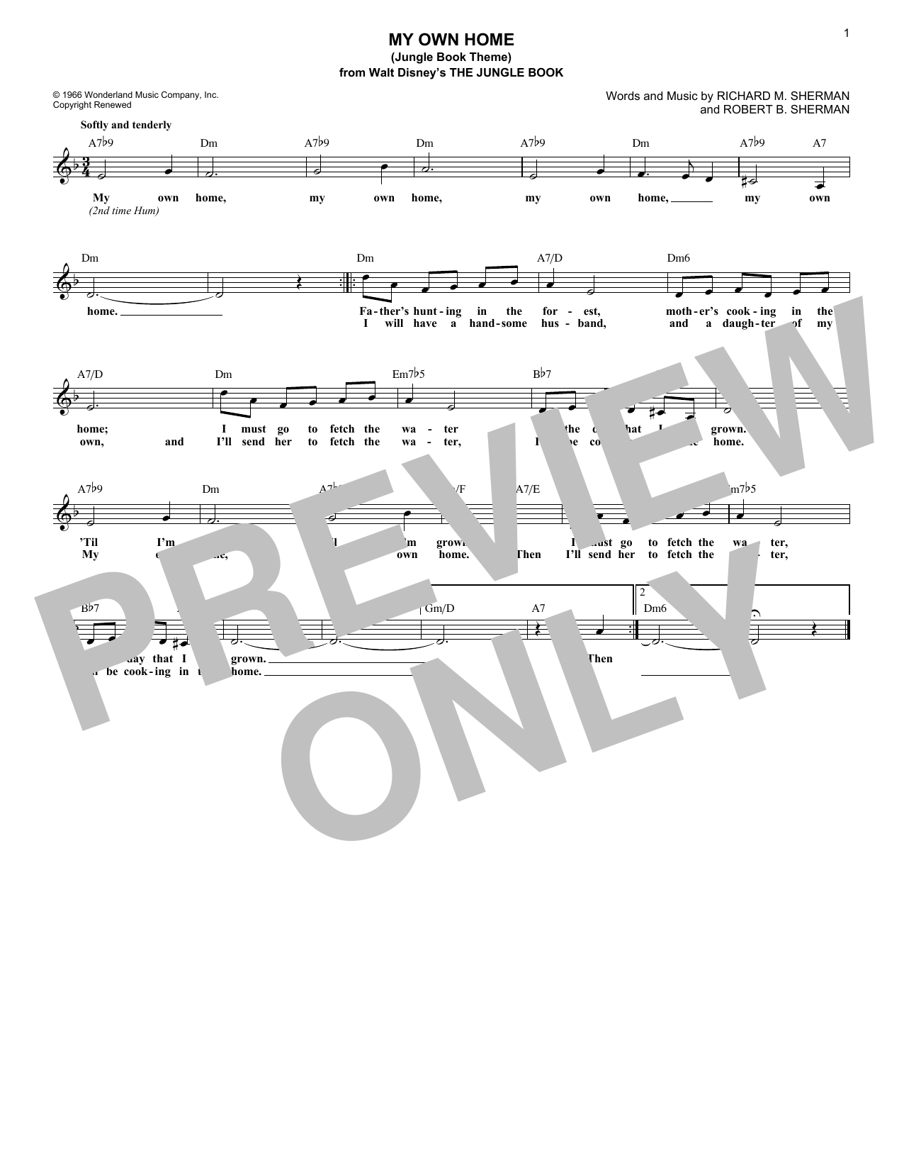 Robert B. Sherman My Own Home (Jungle Book Theme) sheet music notes and chords. Download Printable PDF.