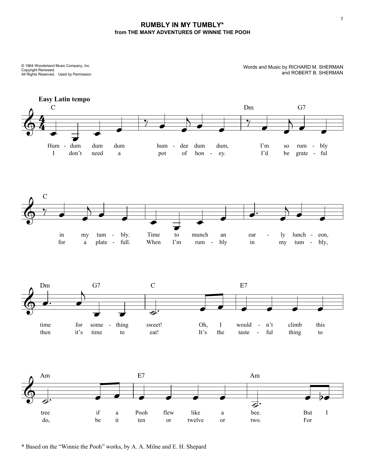 Robert B. Sherman Rumbly In My Tumbly sheet music notes and chords. Download Printable PDF.