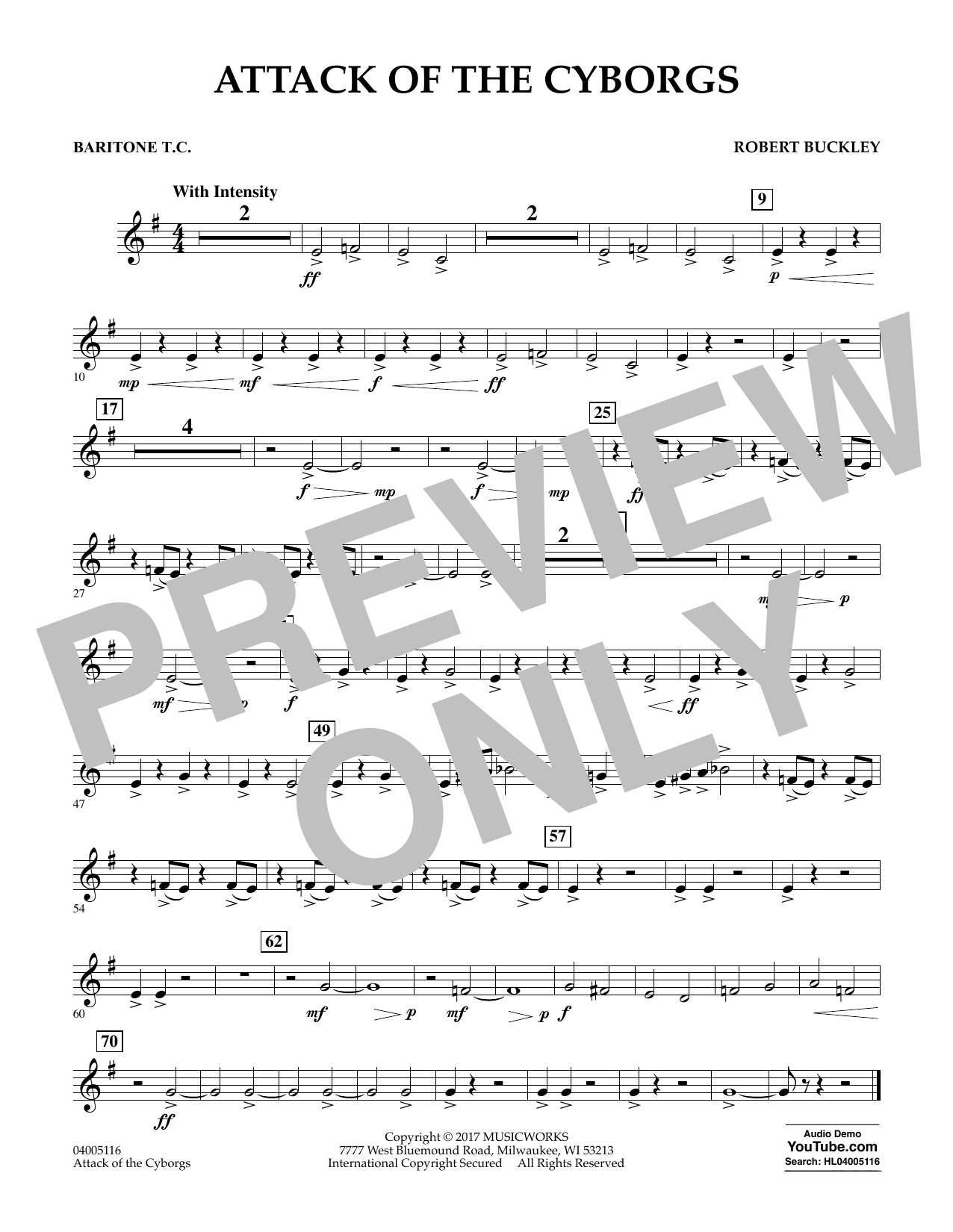 Robert Buckley Attack of the Cyborgs - Baritone T.C. sheet music notes and chords. Download Printable PDF.