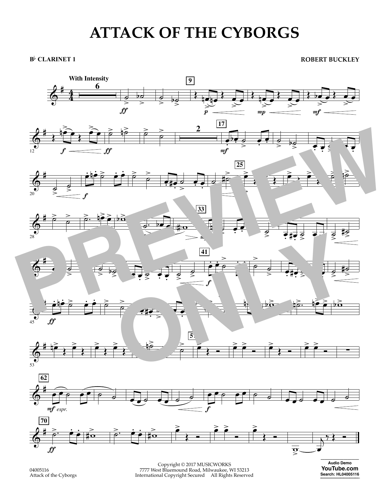 Robert Buckley Attack of the Cyborgs - Bb Clarinet 1 sheet music notes and chords. Download Printable PDF.