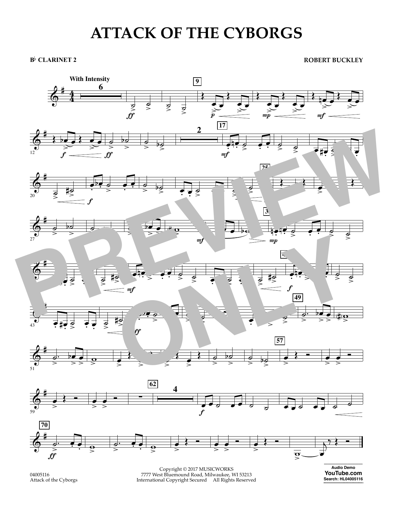 Robert Buckley Attack of the Cyborgs - Bb Clarinet 2 sheet music notes and chords. Download Printable PDF.