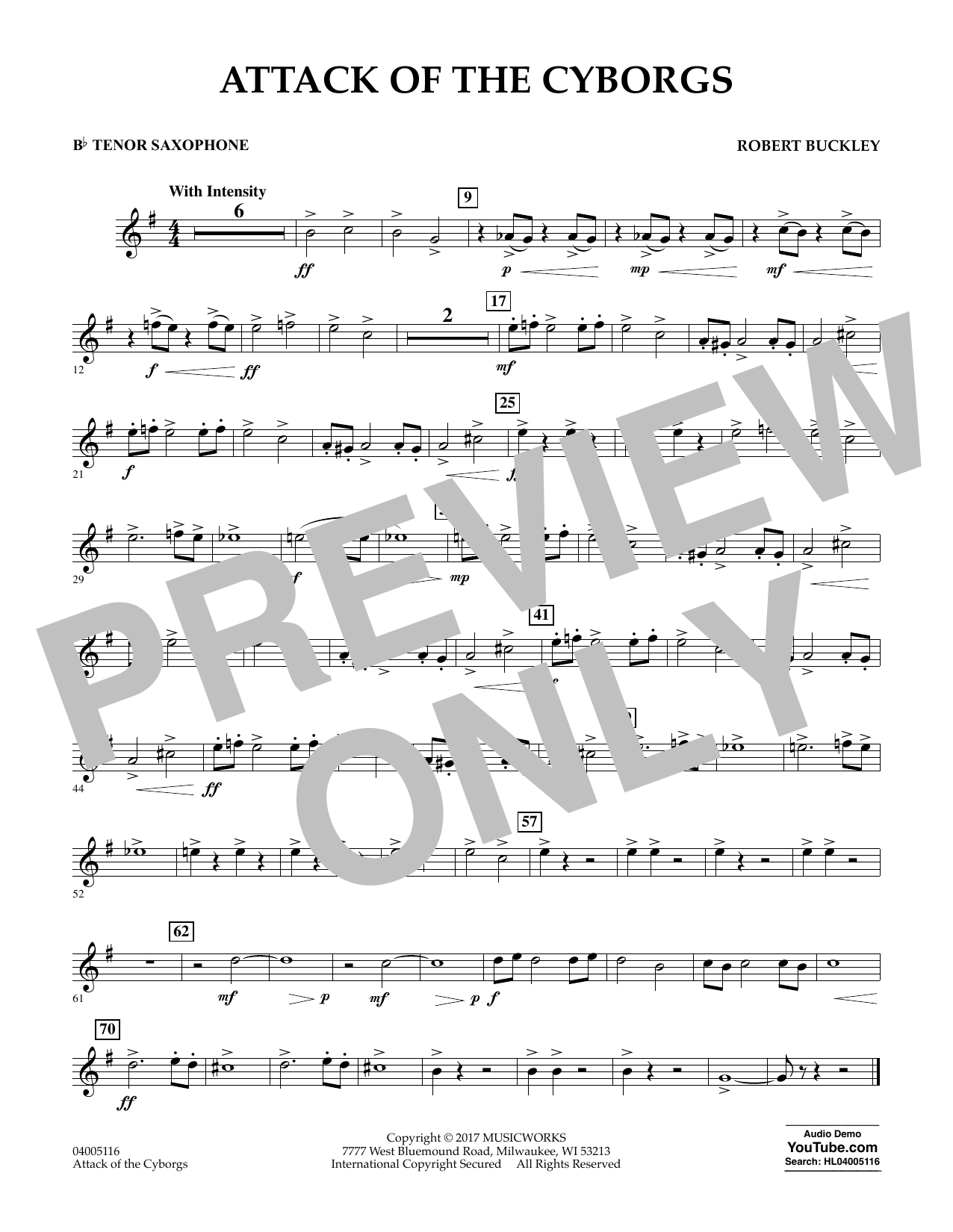 Robert Buckley Attack of the Cyborgs - Bb Tenor Saxophone sheet music notes and chords. Download Printable PDF.