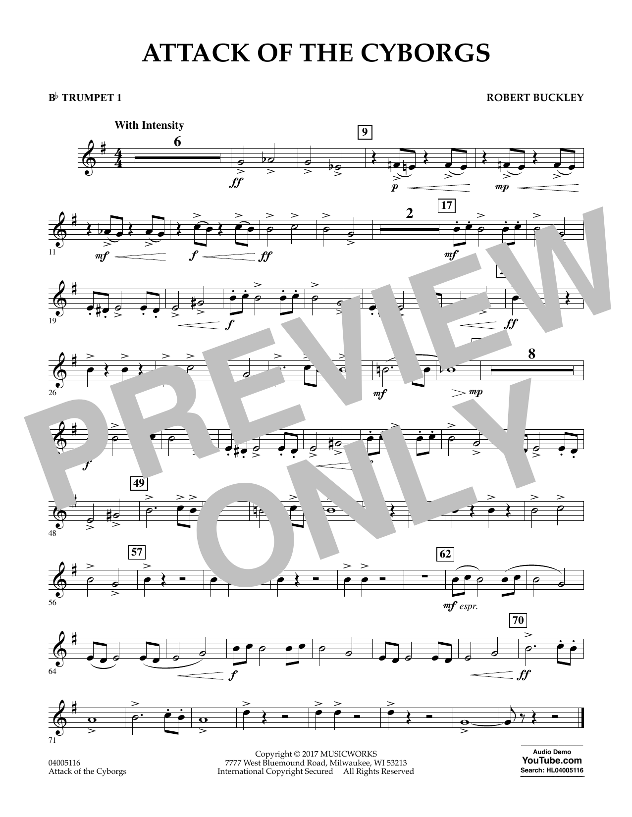 Robert Buckley Attack of the Cyborgs - Bb Trumpet 1 sheet music notes and chords. Download Printable PDF.