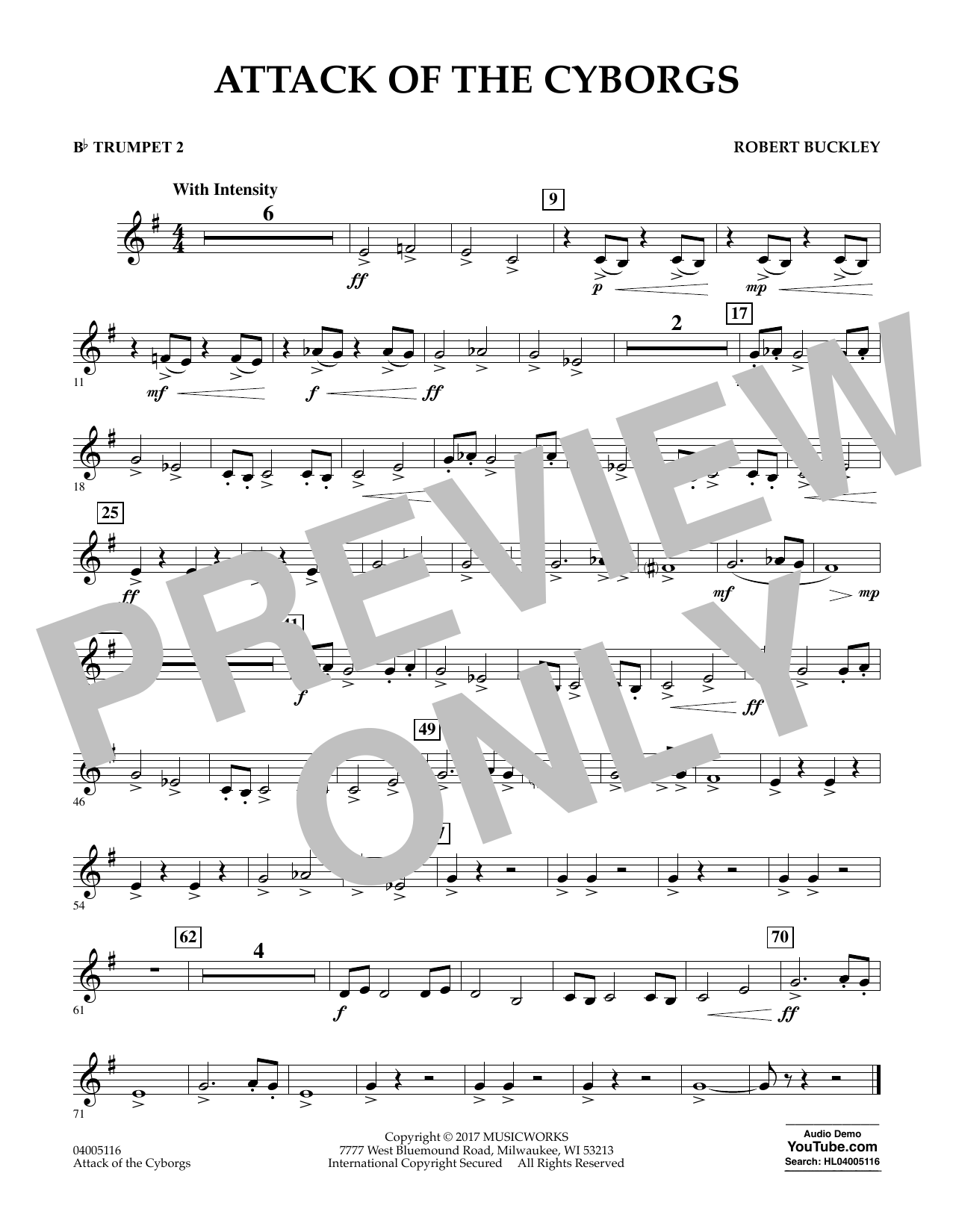 Robert Buckley Attack of the Cyborgs - Bb Trumpet 2 sheet music notes and chords. Download Printable PDF.
