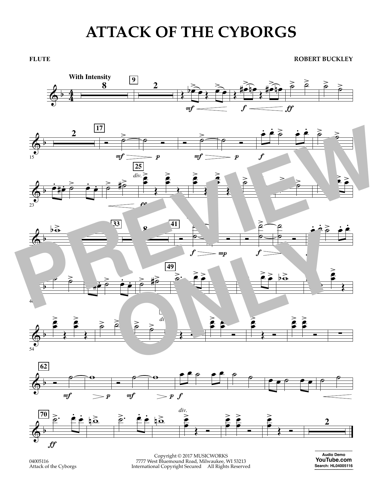 Robert Buckley Attack of the Cyborgs - Flute sheet music notes and chords. Download Printable PDF.