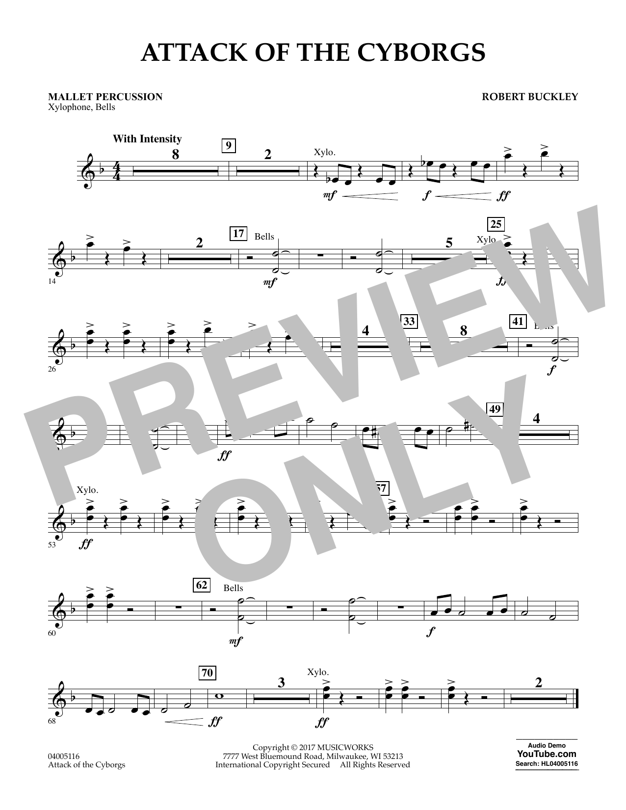 Robert Buckley Attack of the Cyborgs - Mallet Percussion sheet music notes and chords. Download Printable PDF.