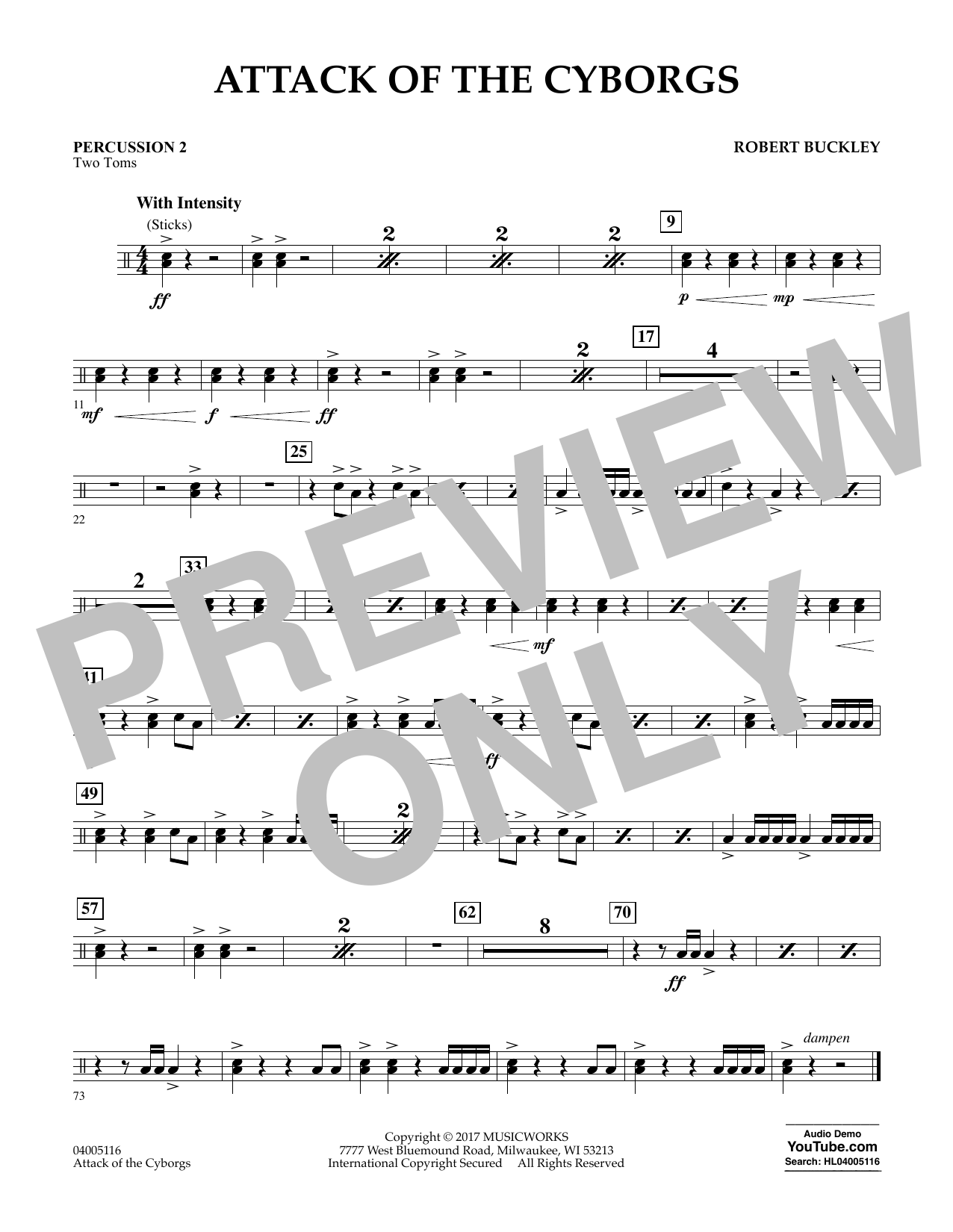 Robert Buckley Attack of the Cyborgs - Percussion 2 sheet music notes and chords. Download Printable PDF.