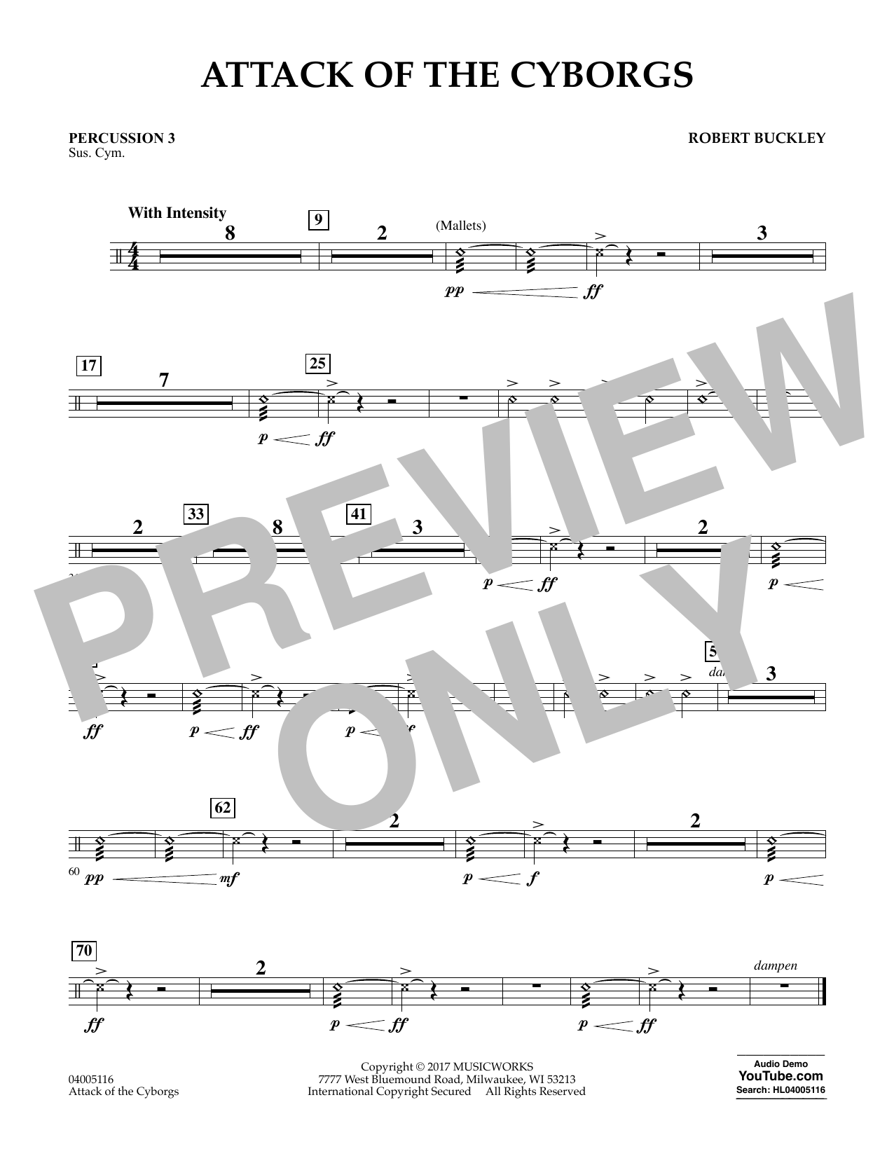 Robert Buckley Attack of the Cyborgs - Percussion 3 sheet music notes and chords. Download Printable PDF.
