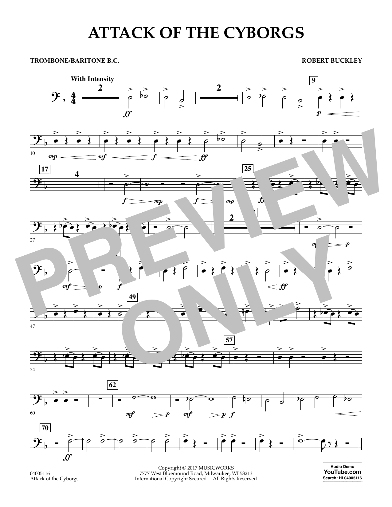 Robert Buckley Attack of the Cyborgs - Trombone/Baritone B.C. sheet music notes and chords. Download Printable PDF.