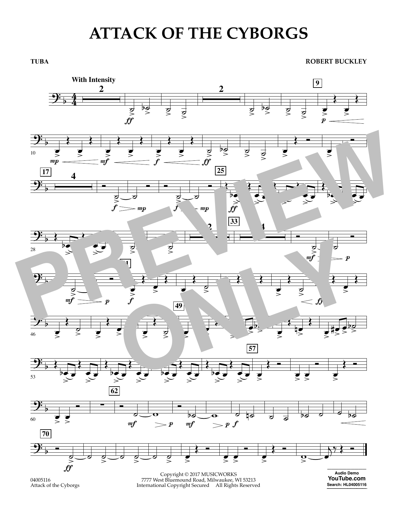 Robert Buckley Attack of the Cyborgs - Tuba sheet music notes and chords. Download Printable PDF.