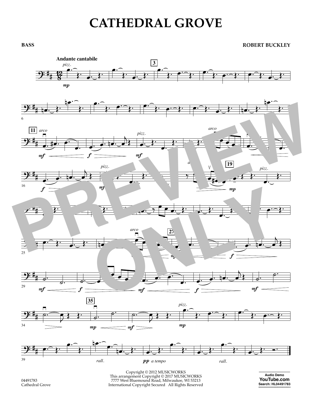 Robert Buckley Cathedral Grove - Bass sheet music notes and chords. Download Printable PDF.