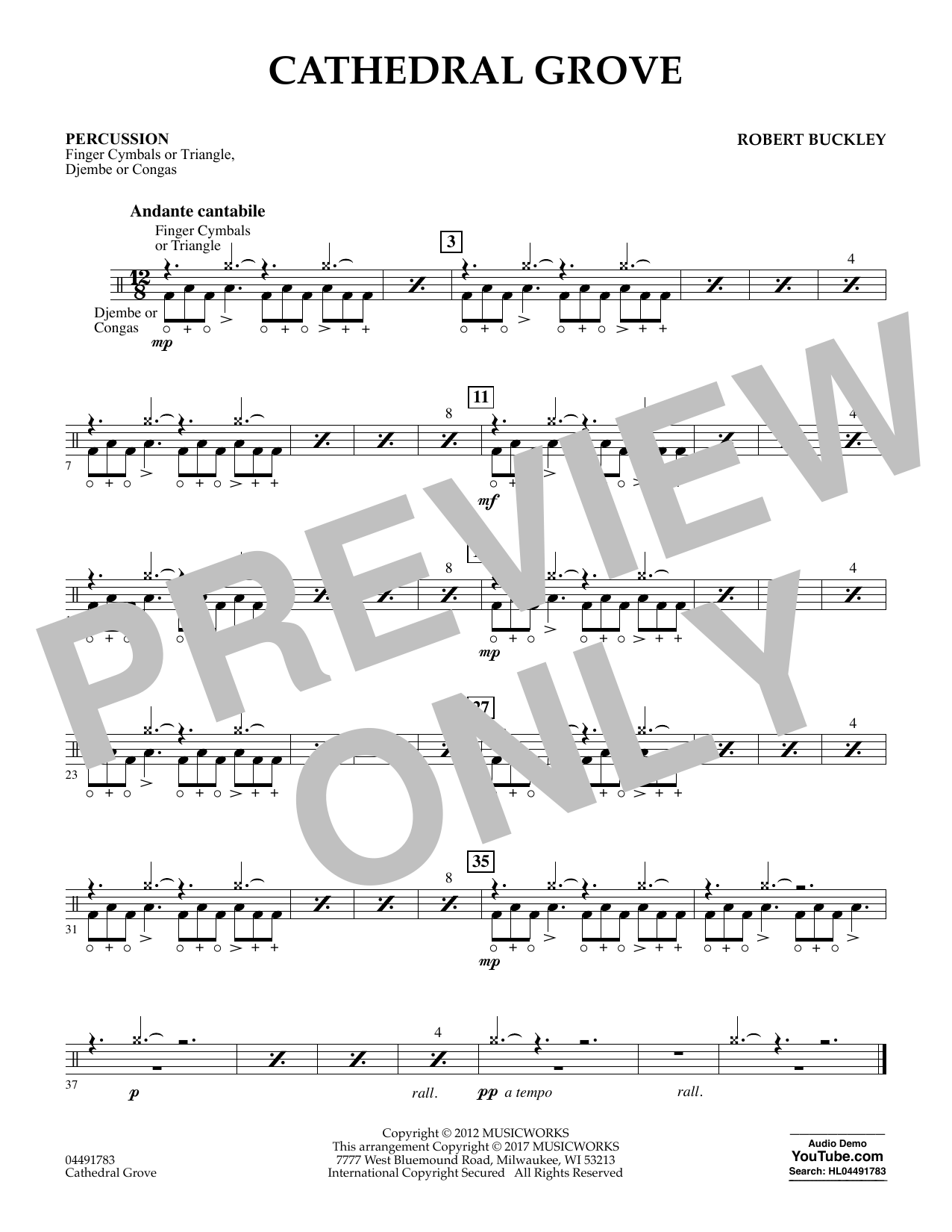 Robert Buckley Cathedral Grove - Percussion sheet music notes and chords. Download Printable PDF.
