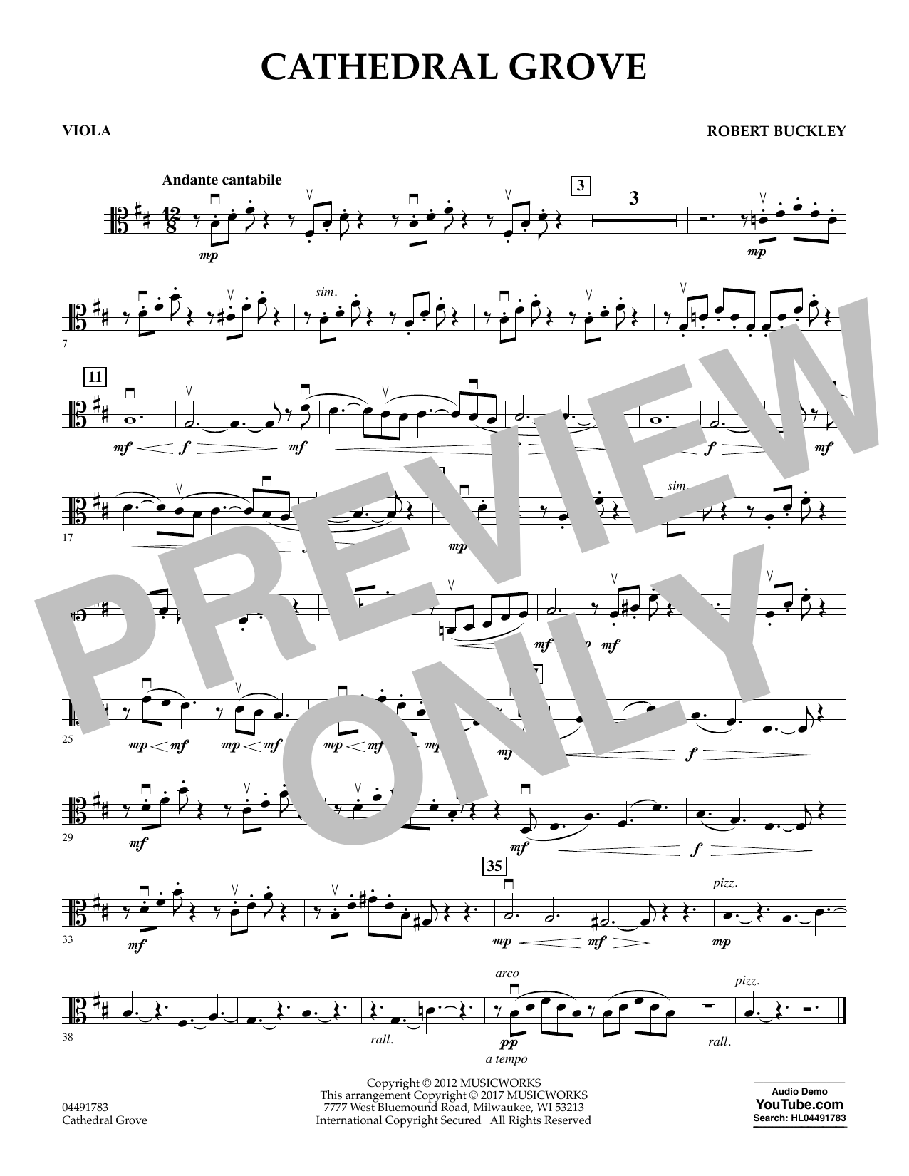 Robert Buckley Cathedral Grove - Viola sheet music notes and chords. Download Printable PDF.