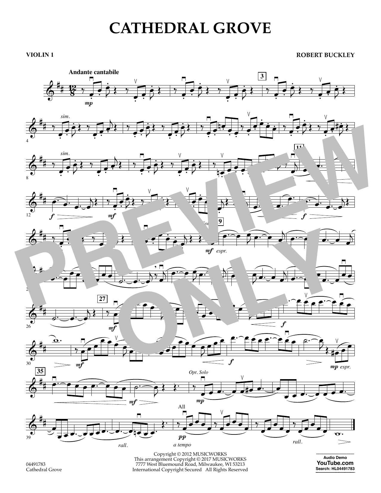 Robert Buckley Cathedral Grove - Violin 1 sheet music notes and chords. Download Printable PDF.
