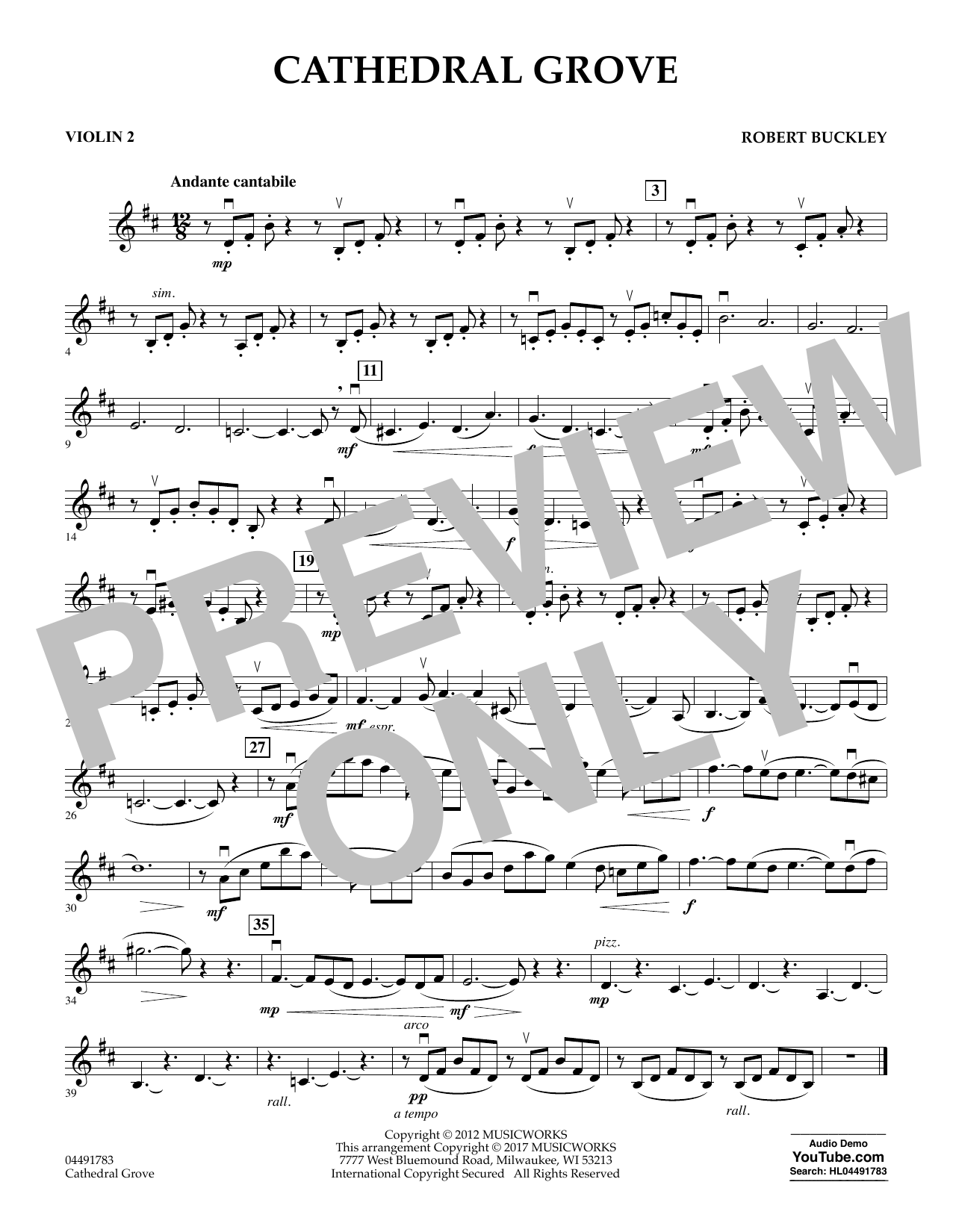 Robert Buckley Cathedral Grove - Violin 2 sheet music notes and chords. Download Printable PDF.