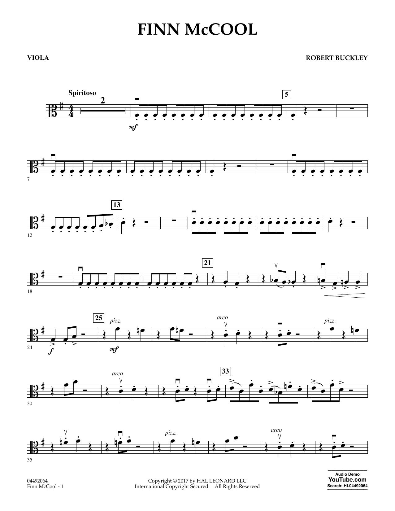 Robert Buckley Finn McCool - Viola sheet music notes and chords. Download Printable PDF.