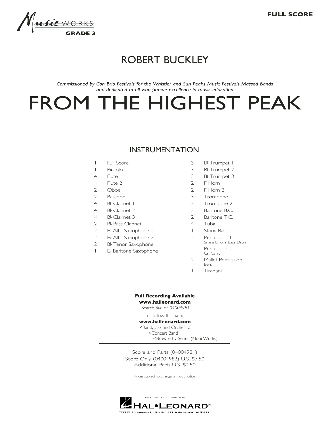 Robert Buckley From the Highest Peak - Conductor Score (Full Score) sheet music notes and chords. Download Printable PDF.